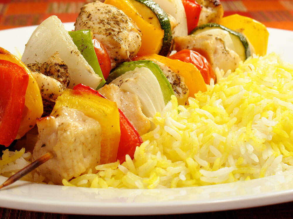 Saffron Marinated Chicken Kabob